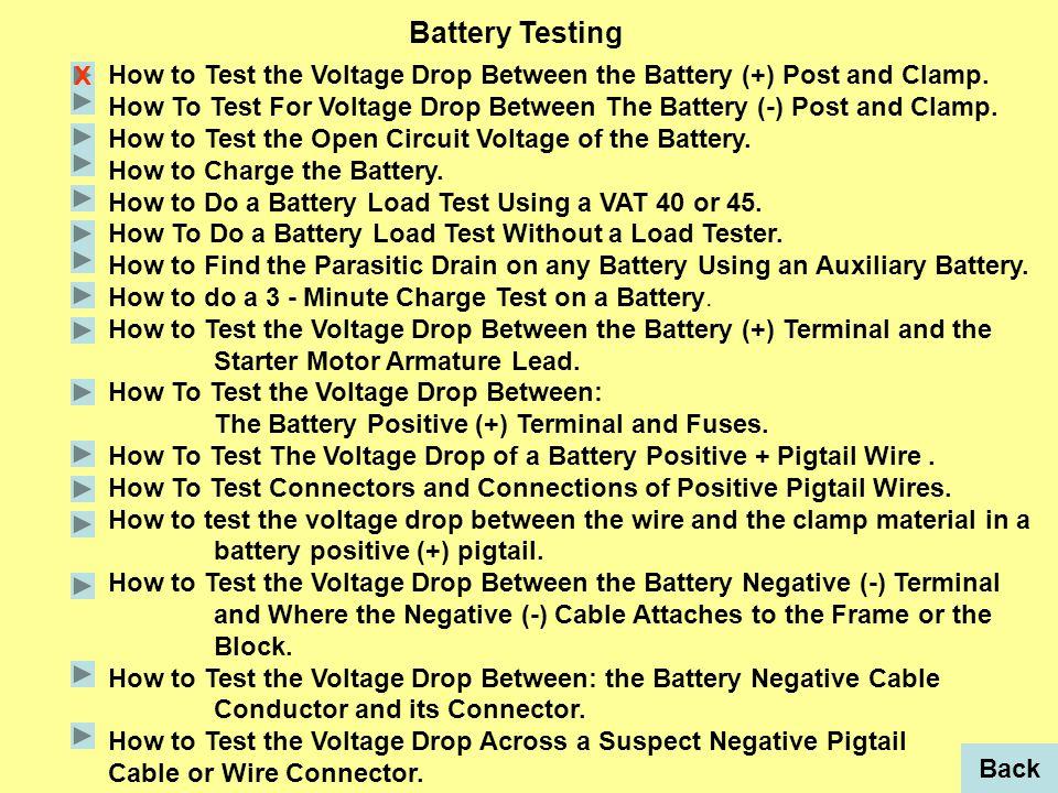 Set voltmeter to read volts DC.Put voltmeter positive (+) probe on battery (+) terminal.