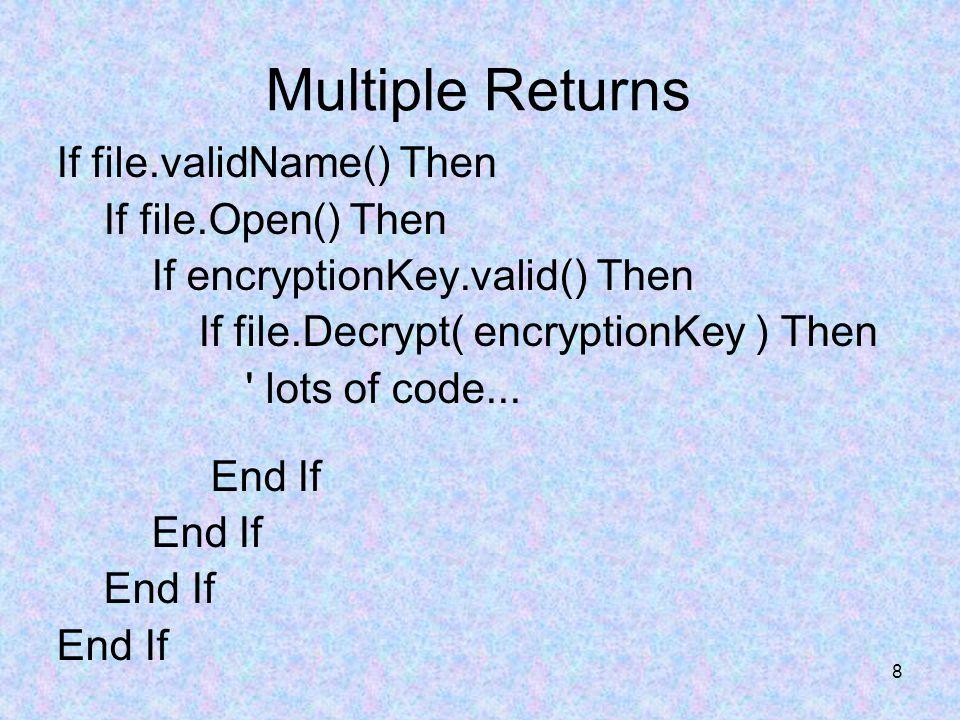 59 Taming Dangerously Deep Nesting if ( inputStatus == InputStatus_Success ) { // lots of code...