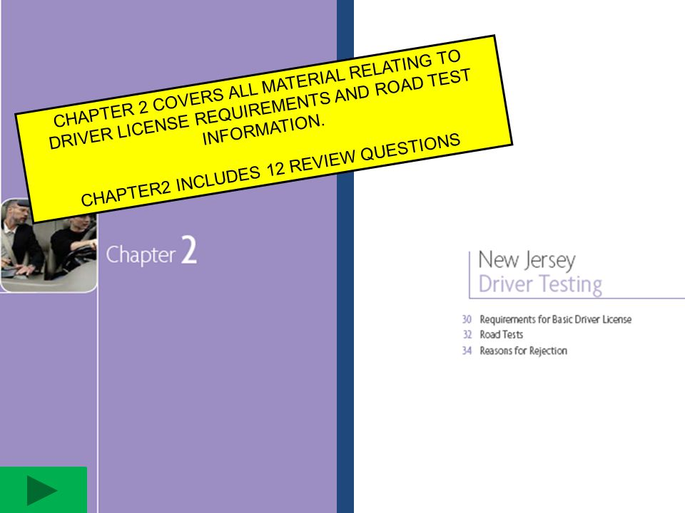 CHAPTER 2 COVERS ALL MATERIAL RELATING TO DRIVER LICENSE REQUIREMENTS AND ROAD TEST INFORMATION. CHAPTER2 INCLUDES 12 REVIEW QUESTIONS