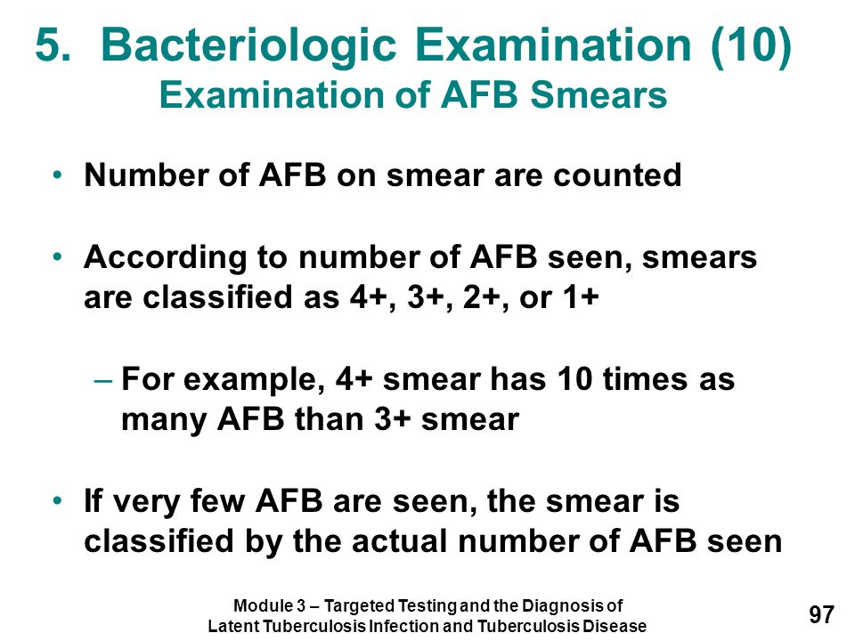 Module 3 – Targeted Testing and the Diagnosis of Latent Tuberculosis Infection and Tuberculosis Disease 97 Number of AFB on smear are counted Accordin