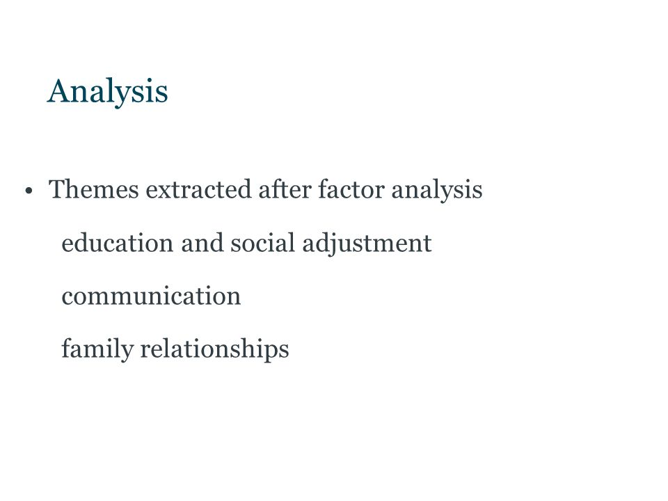 Analysis Themes extracted after factor analysis education and social adjustment communication family relationships