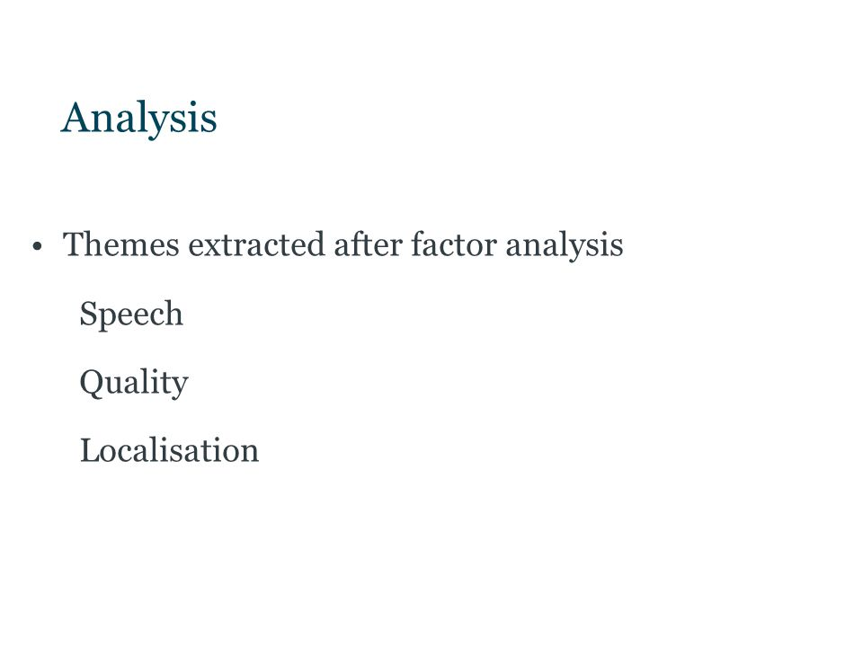 Analysis Themes extracted after factor analysis Speech Quality Localisation