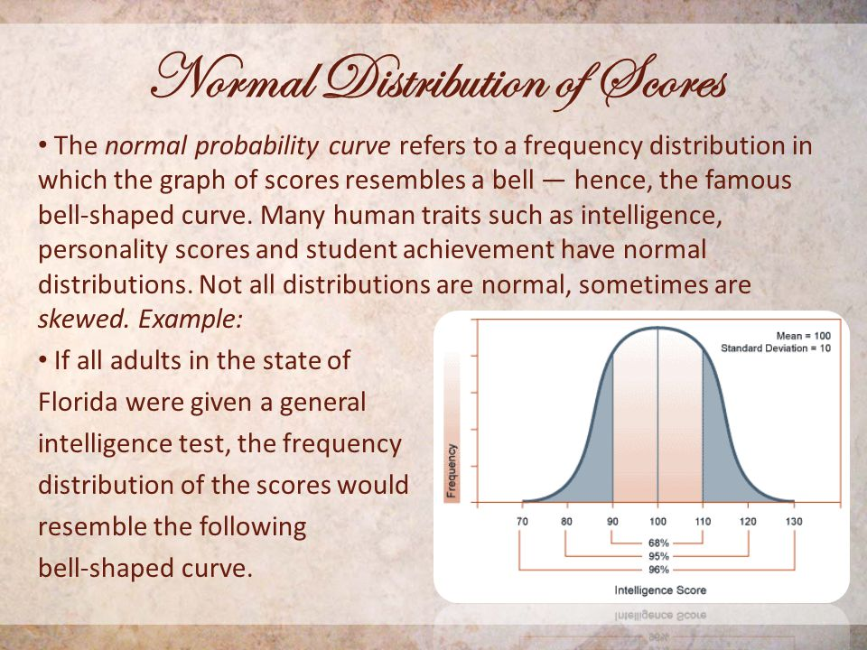 Normal Distribution of Scores The normal probability curve refers to a frequency distribution in which the graph of scores resembles a bell — hence, the famous bell-shaped curve.