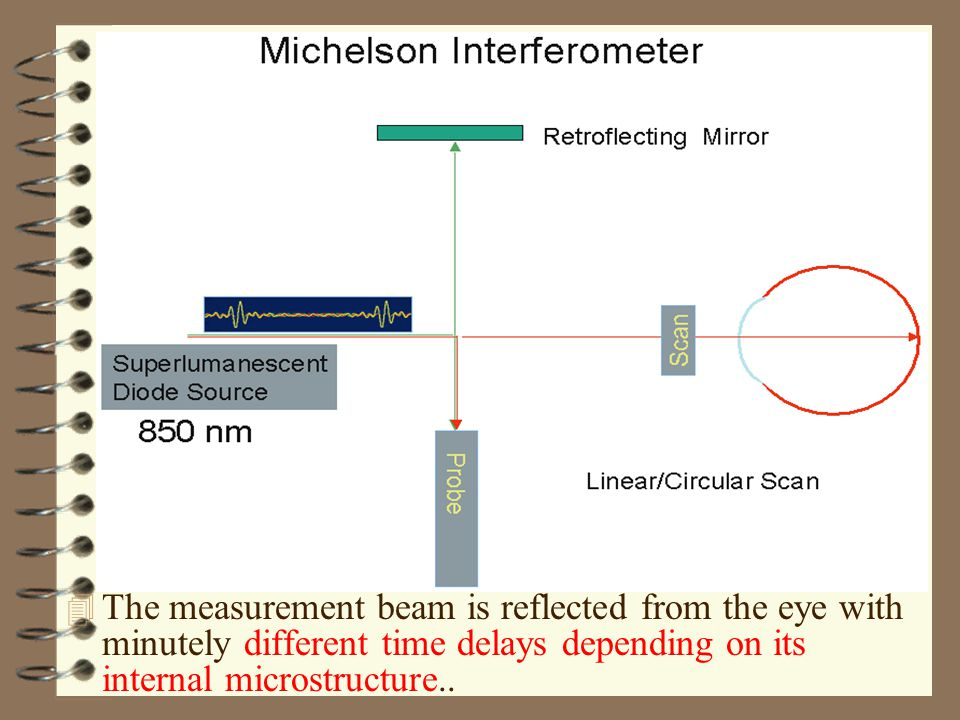 4 The measurement beam is reflected from the eye with minutely different time delays depending on its internal microstructure..