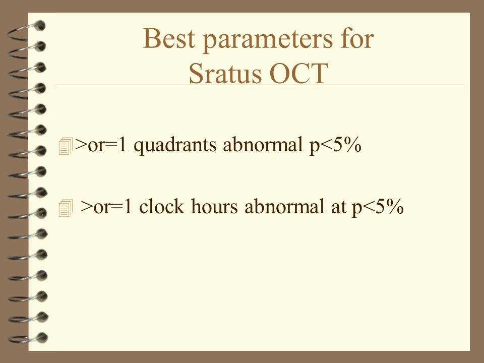 Best parameters for Sratus OCT 4 >or=1 quadrants abnormal p<5% 4 >or=1 clock hours abnormal at p<5%