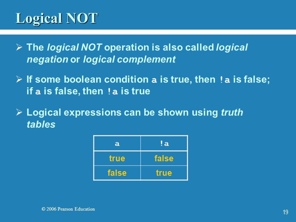 © 2006 Pearson Education 19 Logical NOT  The logical NOT operation is also called logical negation or logical complement  If some boolean condition a is true, then !a is false; if a is false, then !a is true  Logical expressions can be shown using truth tables a!a truefalse true