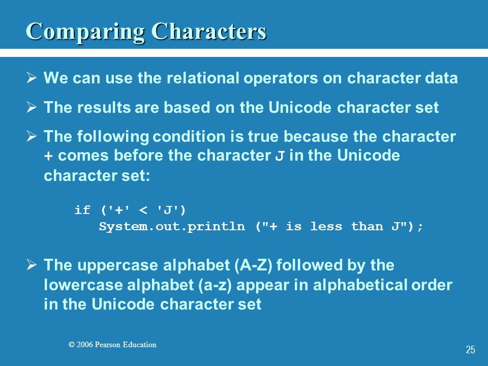 © 2006 Pearson Education 25 Comparing Characters  We can use the relational operators on character data  The results are based on the Unicode character set  The following condition is true because the character + comes before the character J in the Unicode character set: if ( + < J ) System.out.println ( + is less than J );  The uppercase alphabet (A-Z) followed by the lowercase alphabet (a-z) appear in alphabetical order in the Unicode character set