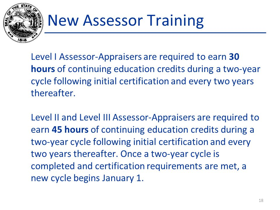 New Assessor Training Level I Assessor-Appraisers are required to earn 30 hours of continuing education credits during a two-year cycle following init