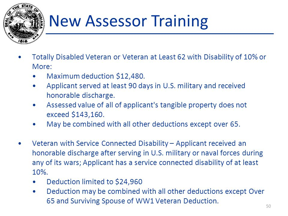 New Assessor Training Totally Disabled Veteran or Veteran at Least 62 with Disability of 10% or More: Maximum deduction $12,480. Applicant served at l