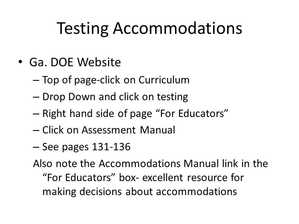 Testing Accommodations Ga.