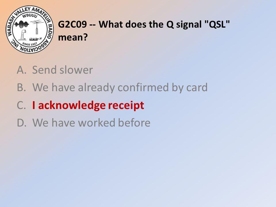 G2C09 -- What does the Q signal QSL mean.