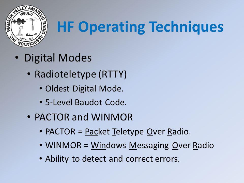 Digital Modes Radioteletype (RTTY) Oldest Digital Mode.