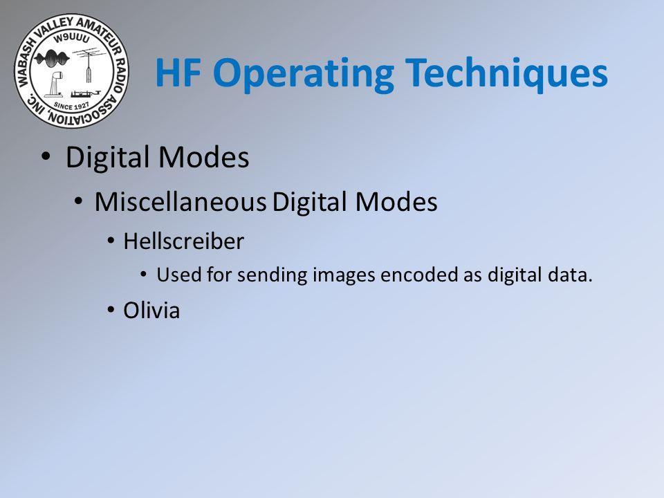 Digital Modes Miscellaneous Digital Modes Hellscreiber Used for sending images encoded as digital data.