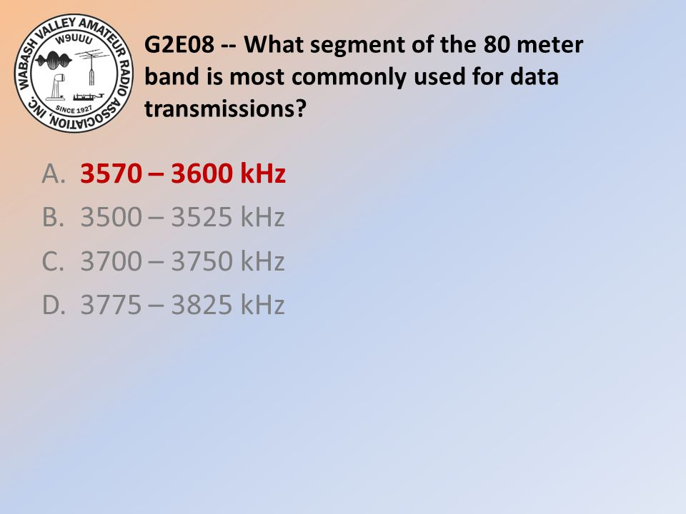 G2E08 -- What segment of the 80 meter band is most commonly used for data transmissions.