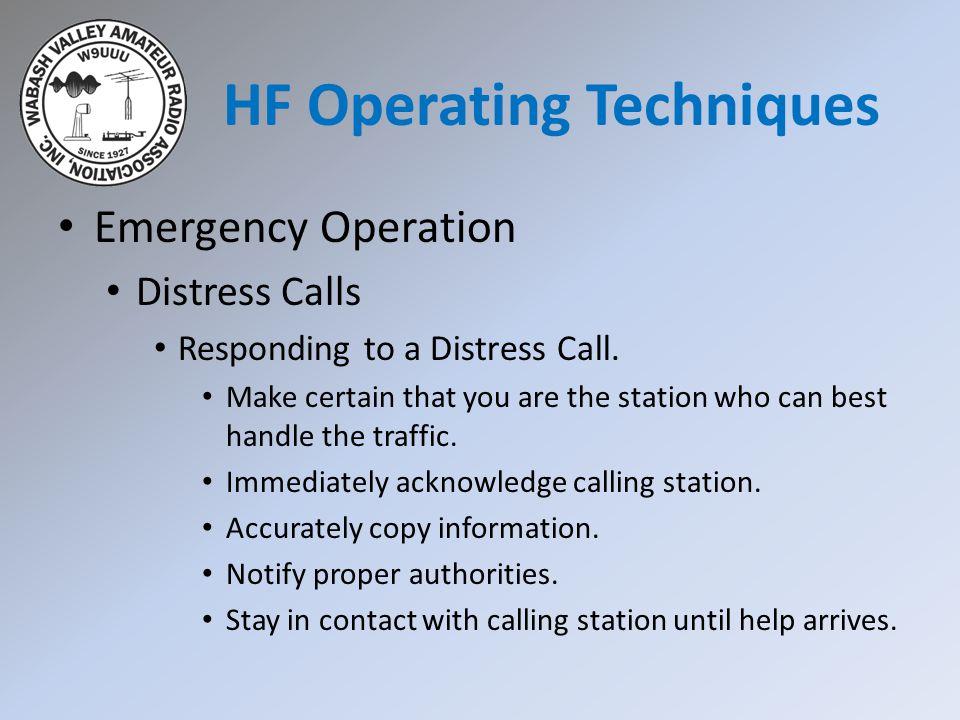 Emergency Operation Distress Calls Responding to a Distress Call.