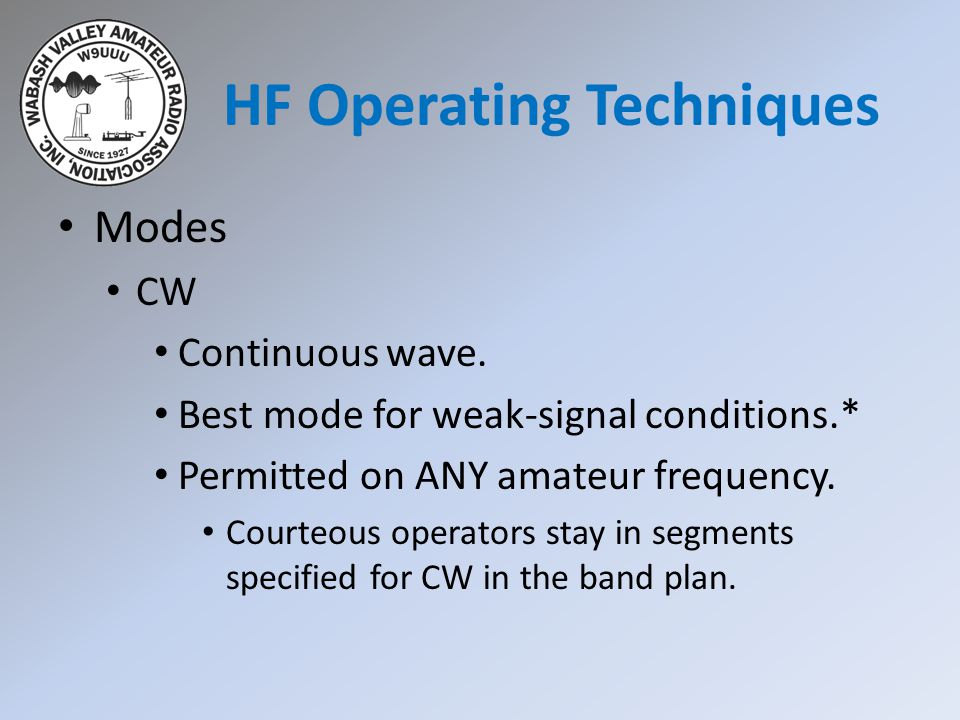 HF Operating Techniques Modes CW Continuous wave.