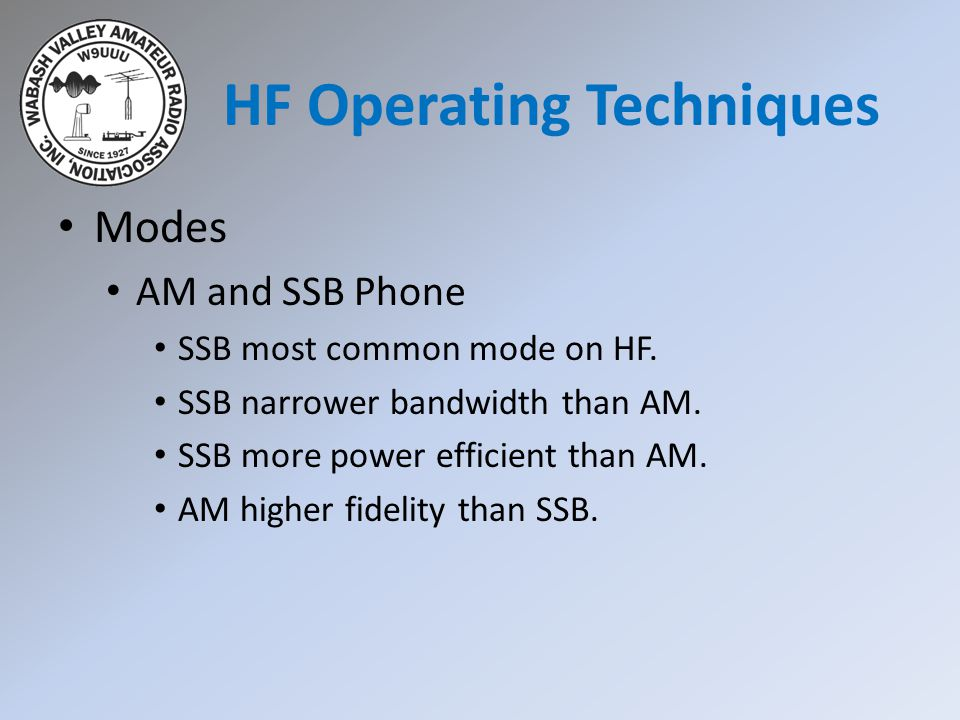 HF Operating Techniques Modes AM and SSB Phone SSB most common mode on HF. SSB narrower bandwidth than AM. SSB more power efficient than AM. AM higher