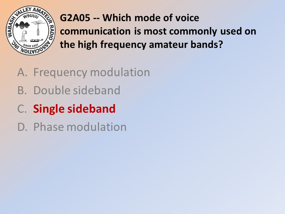 G2A05 -- Which mode of voice communication is most commonly used on the high frequency amateur bands? A.Frequency modulation B.Double sideband C.Singl