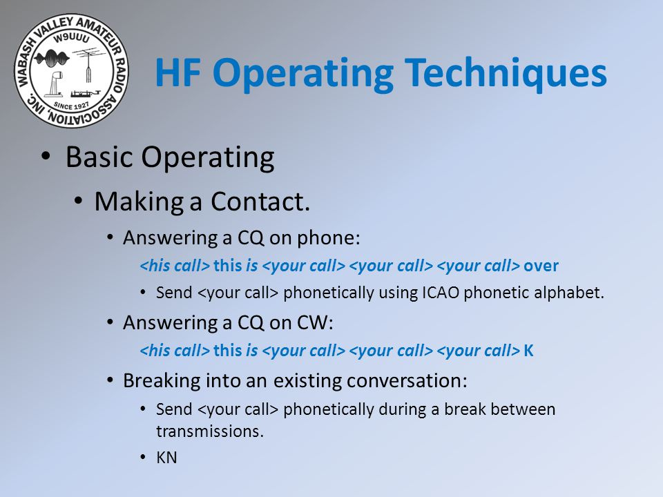 HF Operating Techniques Basic Operating Making a Contact.
