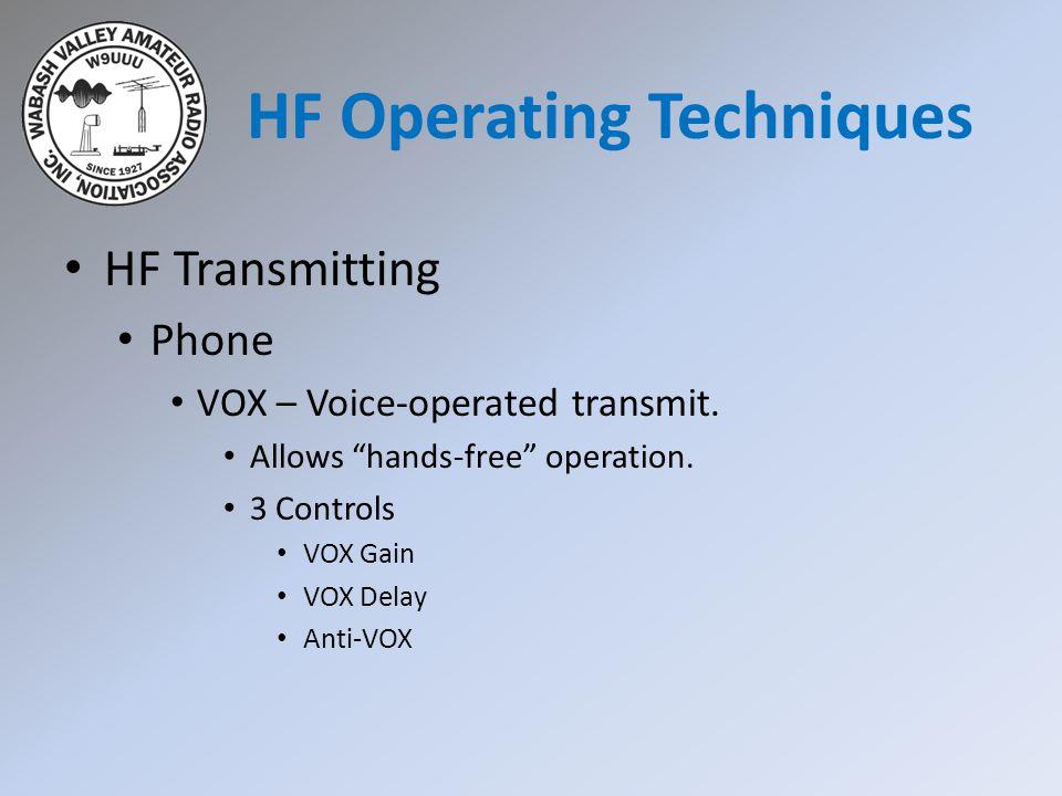 HF Transmitting Phone VOX – Voice-operated transmit.
