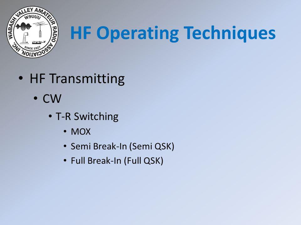 HF Transmitting CW T-R Switching MOX Semi Break-In (Semi QSK) Full Break-In (Full QSK) HF Operating Techniques