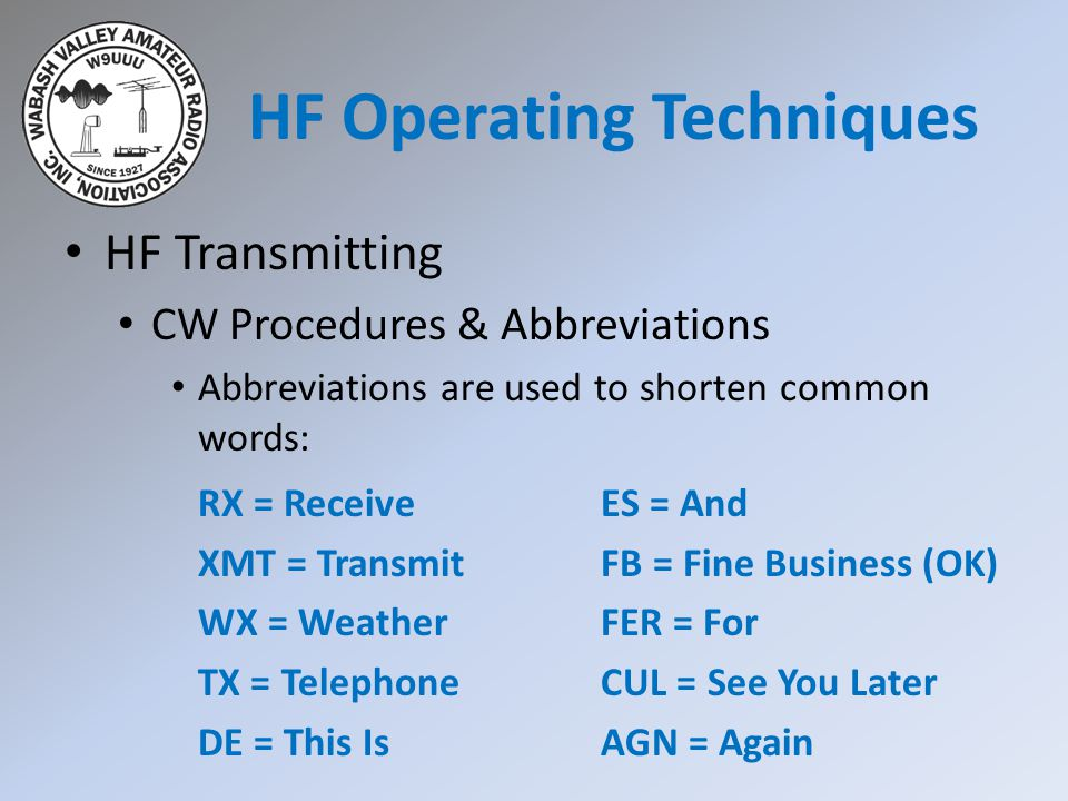 HF Transmitting CW Procedures & Abbreviations Abbreviations are used to shorten common words: RX = Receive XMT = Transmit WX = Weather TX = Telephone