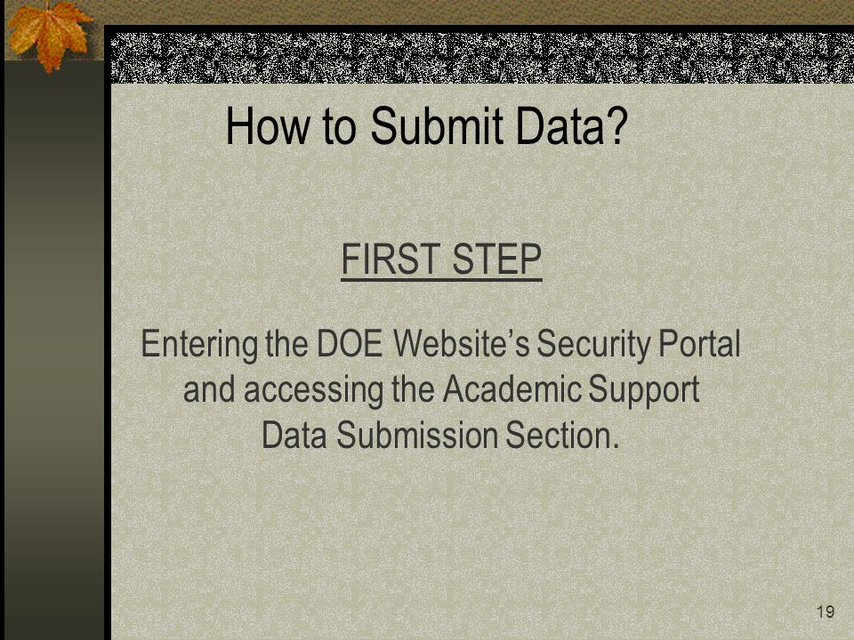 19 How to Submit Data.