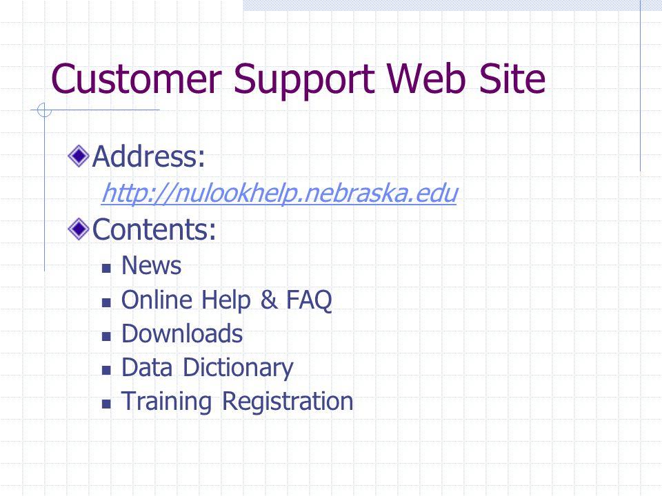 Customer Support Web Site Address: http://nulookhelp.nebraska.edu Contents: News Online Help & FAQ Downloads Data Dictionary Training Registration
