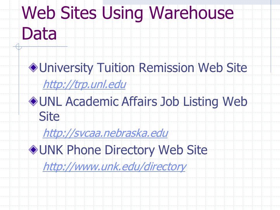 Web Sites Using Warehouse Data University Tuition Remission Web Site http://trp.unl.edu UNL Academic Affairs Job Listing Web Site http://svcaa.nebraska.edu UNK Phone Directory Web Site http://www.unk.edu/directory