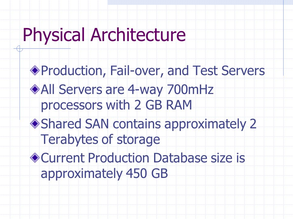 Physical Architecture Production, Fail-over, and Test Servers All Servers are 4-way 700mHz processors with 2 GB RAM Shared SAN contains approximately 2 Terabytes of storage Current Production Database size is approximately 450 GB