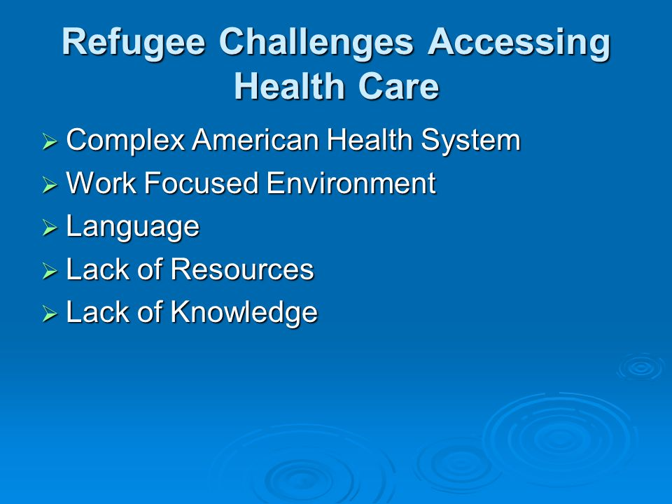 Refugee Challenges Accessing Health Care  Complex American Health System  Work Focused Environment  Language  Lack of Resources  Lack of Knowledge