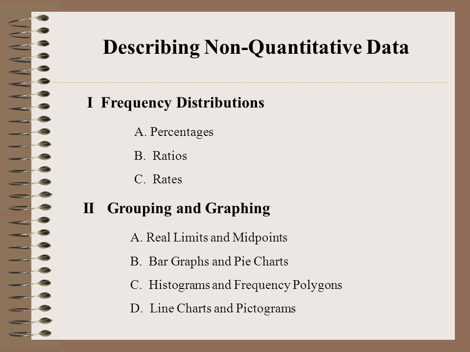 Describing Non-Quantitative Data I Frequency Distributions A. Percentages B. Ratios C. Rates II Grouping and Graphing A. Real Limits and Midpoints B.
