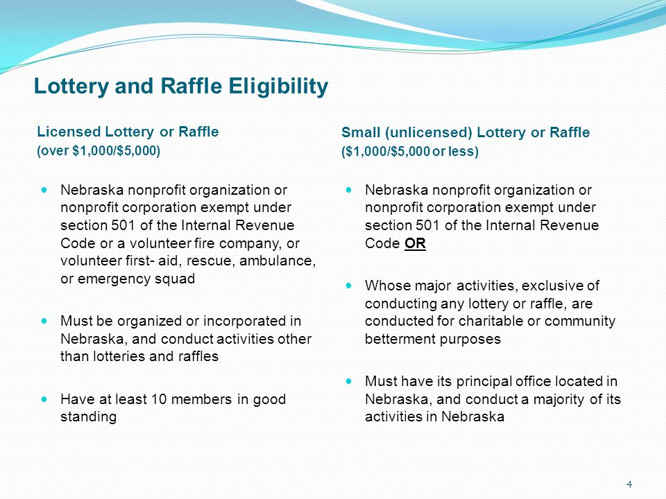 Lottery and Raffle Eligibility Licensed Lottery or Raffle (over $1,000/$5,000) Small (unlicensed) Lottery or Raffle ($1,000/$5,000 or less) Nebraska nonprofit organization or nonprofit corporation exempt under section 501 of the Internal Revenue Code or a volunteer fire company, or volunteer first- aid, rescue, ambulance, or emergency squad Must be organized or incorporated in Nebraska, and conduct activities other than lotteries and raffles Have at least 10 members in good standing Nebraska nonprofit organization or nonprofit corporation exempt under section 501 of the Internal Revenue Code OR Whose major activities, exclusive of conducting any lottery or raffle, are conducted for charitable or community betterment purposes Must have its principal office located in Nebraska, and conduct a majority of its activities in Nebraska 4