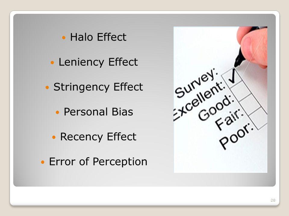 Halo Effect Leniency Effect Stringency Effect Personal Bias Recency Effect Error of Perception 28