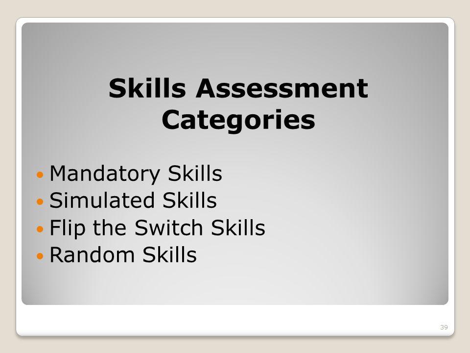 Skills Assessment Categories Mandatory Skills Simulated Skills Flip the Switch Skills Random Skills 39