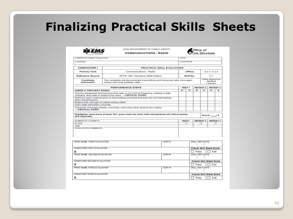 Finalizing Practical Skills Sheets 56