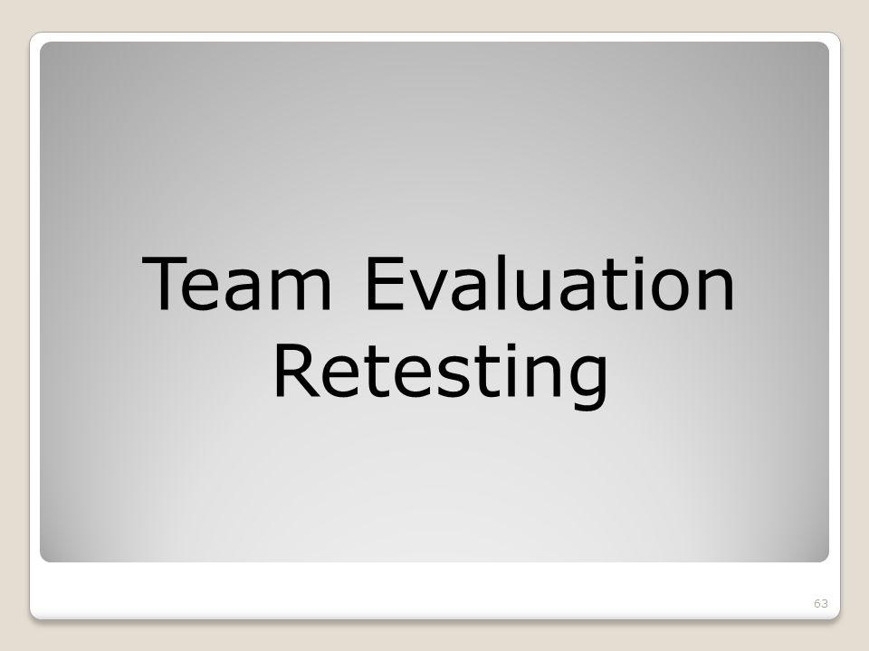 Team Evaluation Retesting 63
