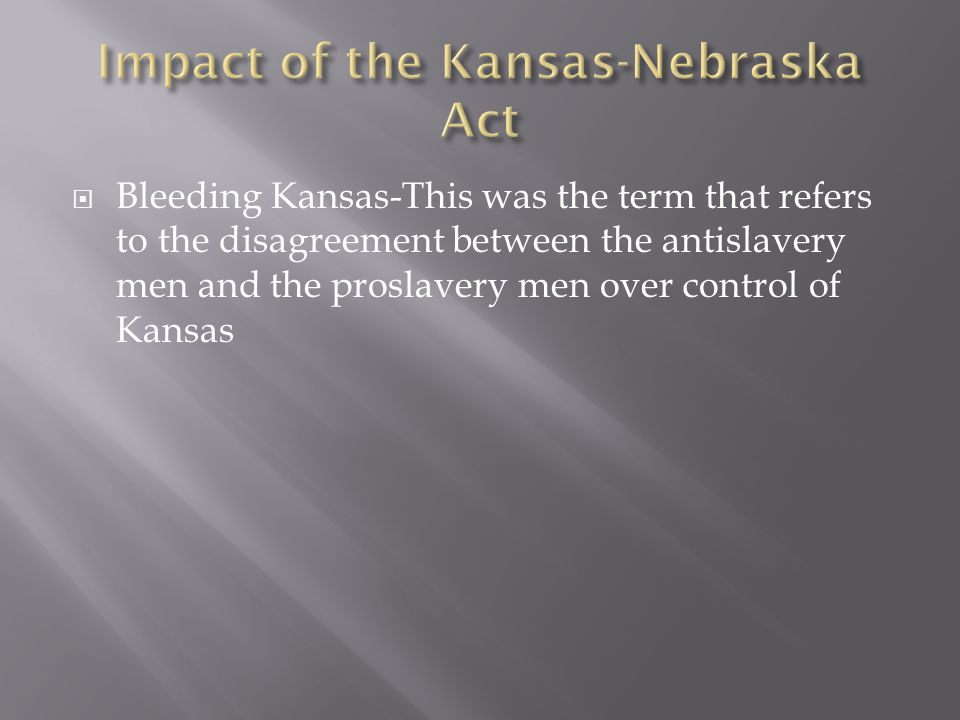  The northern states organize groups of people to move to Kansas.