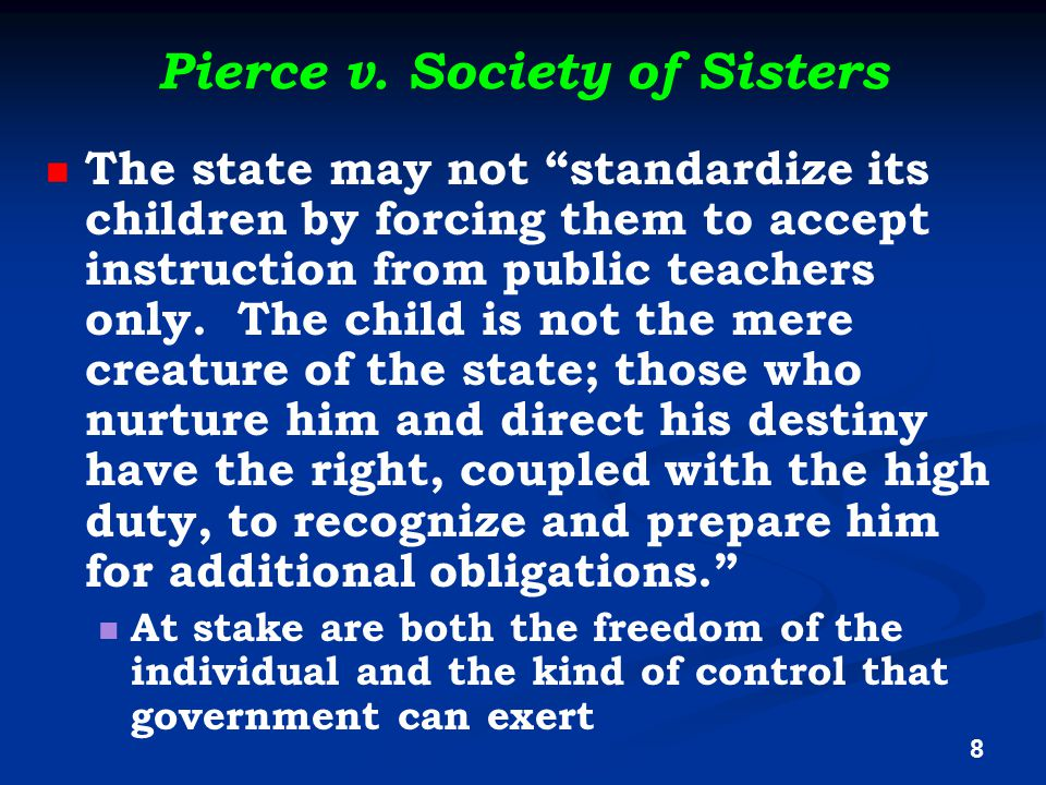 "Pierce v. Society of Sisters The state may not ""standardize its children by forcing them to accept instruction from public teachers only. The child is"