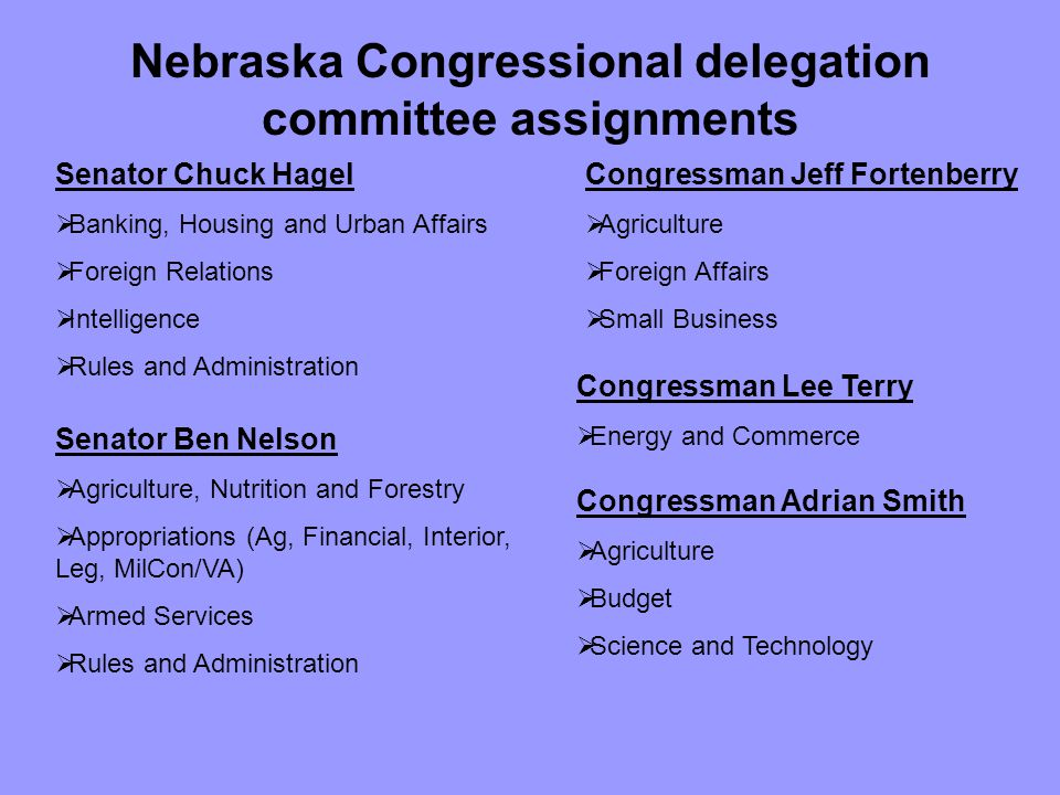 Nebraska Congressional delegation committee assignments Senator Chuck Hagel  Banking, Housing and Urban Affairs  Foreign Relations  Intelligence  Rules and Administration Senator Ben Nelson  Agriculture, Nutrition and Forestry  Appropriations (Ag, Financial, Interior, Leg, MilCon/VA)  Armed Services  Rules and Administration Congressman Jeff Fortenberry  Agriculture  Foreign Affairs  Small Business Congressman Lee Terry  Energy and Commerce Congressman Adrian Smith  Agriculture  Budget  Science and Technology