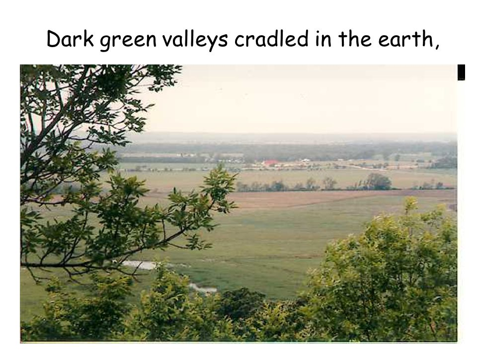 Dark green valleys cradled in the earth,