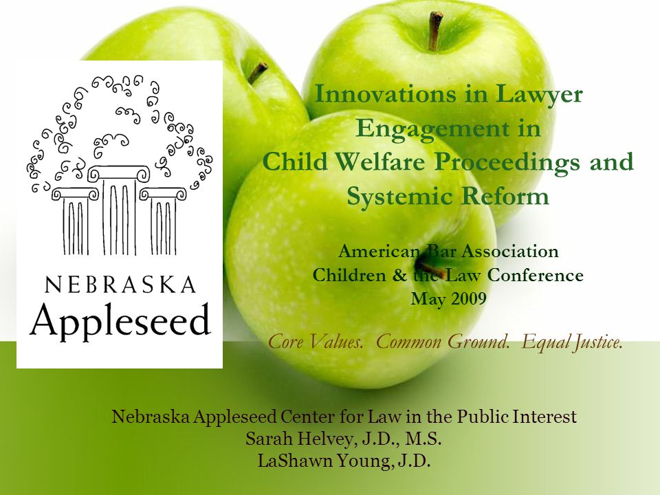 Innovations in Lawyer Engagement in Child Welfare Proceedings and Systemic Reform American Bar Association Children & the Law Conference May 2009 Nebraska Appleseed Center for Law in the Public Interest Sarah Helvey, J.D., M.S.