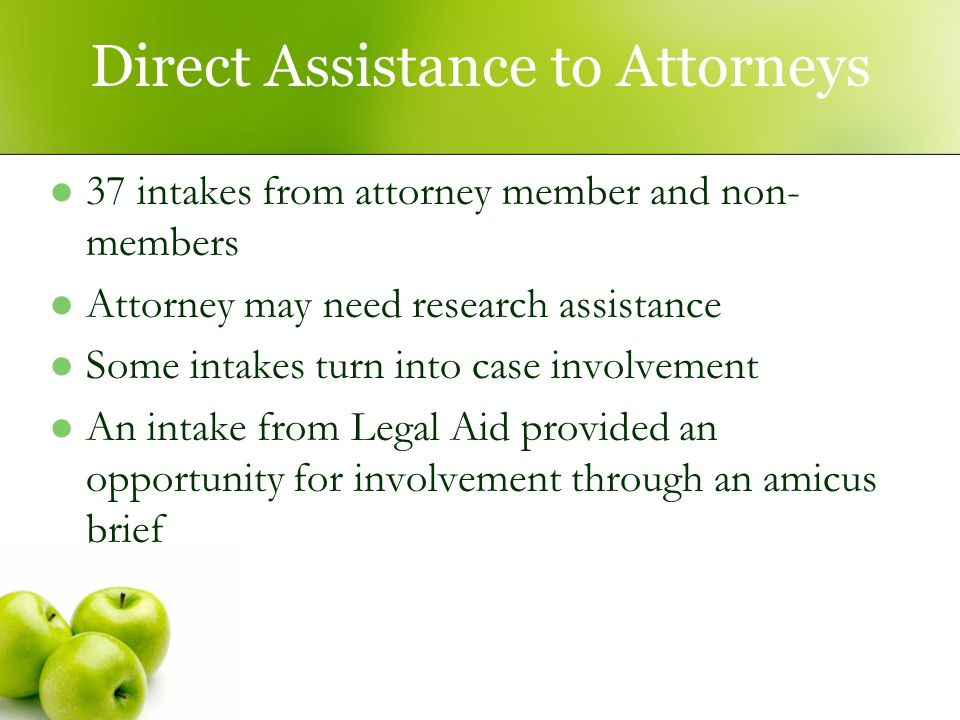 Direct Assistance to Attorneys 37 intakes from attorney member and non- members Attorney may need research assistance Some intakes turn into case involvement An intake from Legal Aid provided an opportunity for involvement through an amicus brief