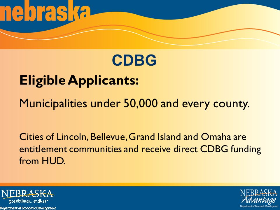 Eligible Applicants: Municipalities under 50,000 and every county.
