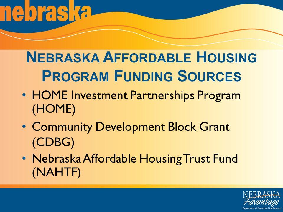 N EBRASKA A FFORDABLE H OUSING P ROGRAM F UNDING S OURCES HOME Investment Partnerships Program (HOME) Community Development Block Grant (CDBG) Nebraska Affordable Housing Trust Fund (NAHTF)