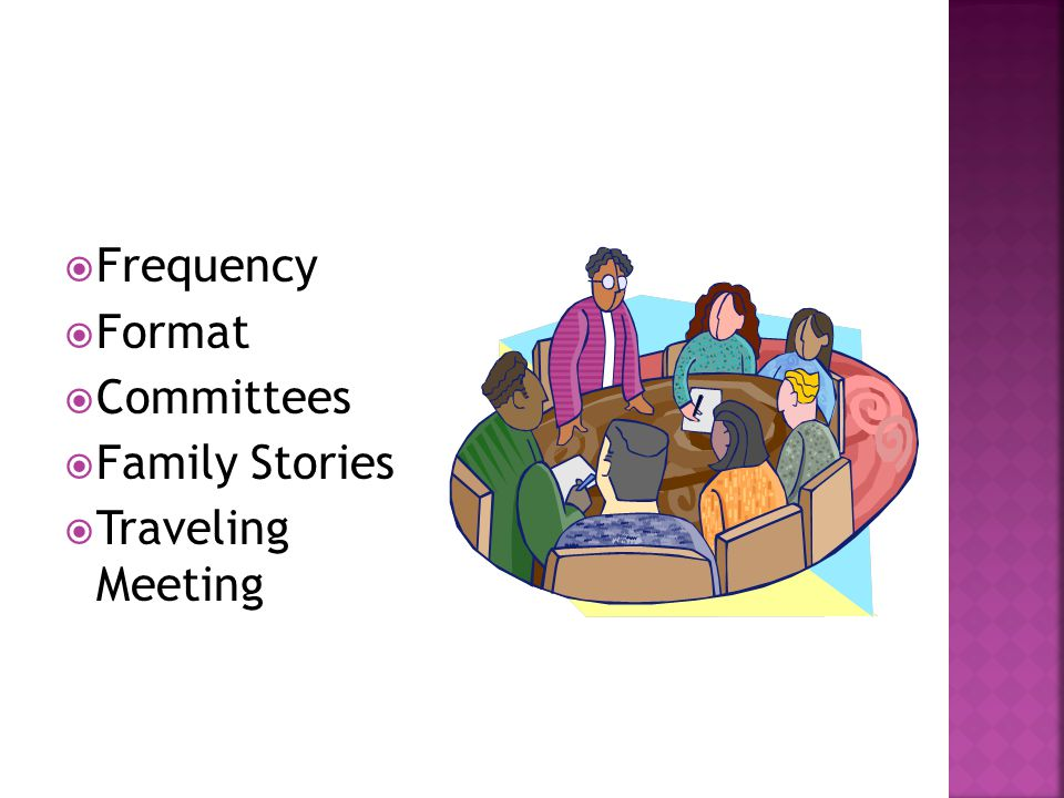  Frequency  Format  Committees  Family Stories  Traveling Meeting