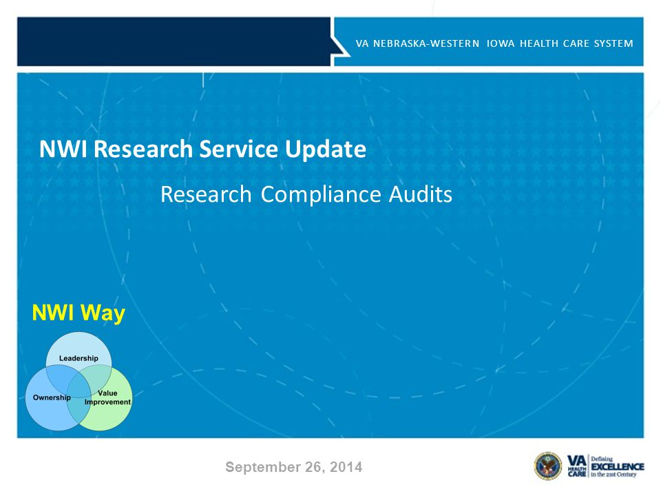 NWI Way VA NEBRASKA-WESTERN IOWA HEALTH CARE SYSTEM NWI Research Service Update Research Compliance Audits September 26, 2014