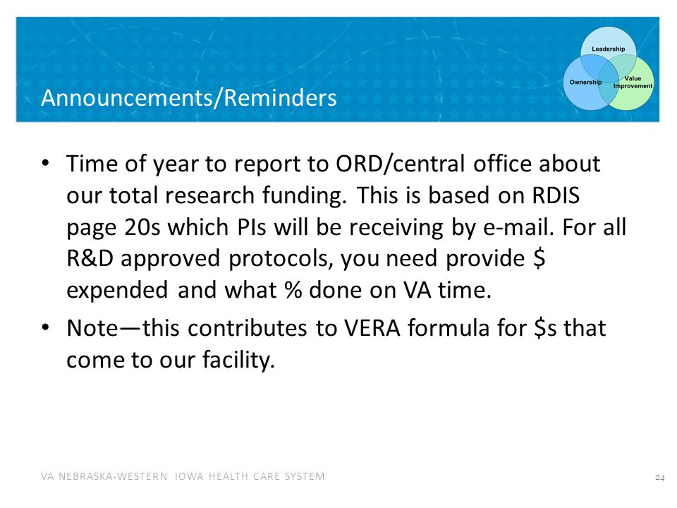 VA NEBRASKA-WESTERN IOWA HEALTH CARE SYSTEM Announcements/Reminders Time of year to report to ORD/central office about our total research funding.