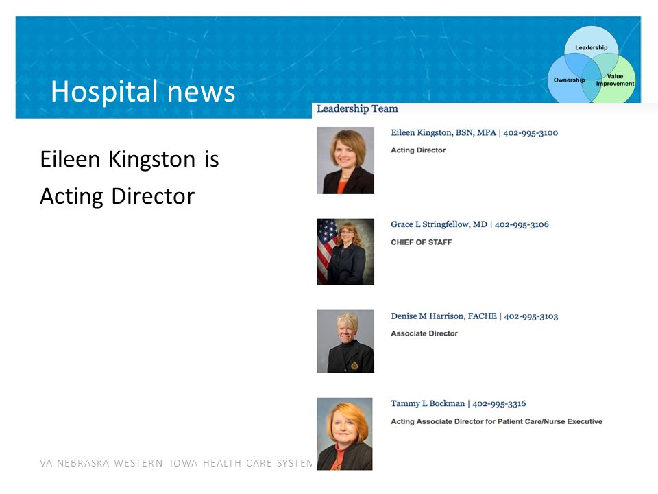 VA NEBRASKA-WESTERN IOWA HEALTH CARE SYSTEM Hospital news Eileen Kingston is Acting Director