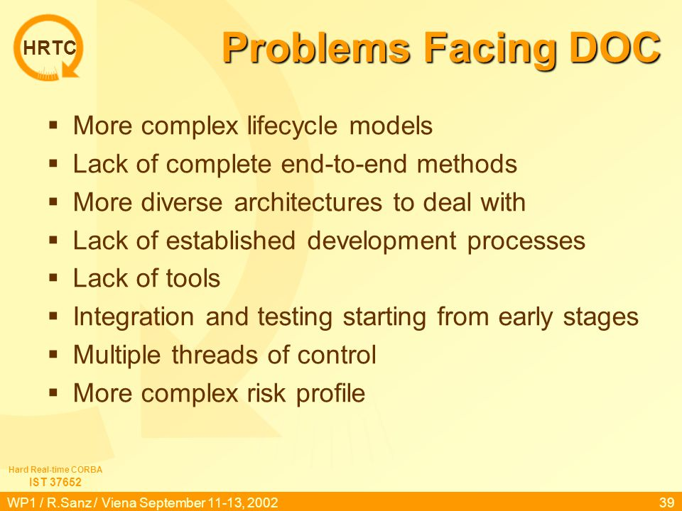 HRTC IST 37652 Hard Real-time CORBA WP1 / R.Sanz / Viena September 11-13, 200239 Problems Facing DOC  More complex lifecycle models  Lack of complet
